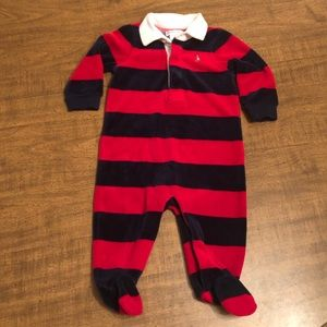 Polo By Ralph Lauren Velour Footie..Size 6Mos